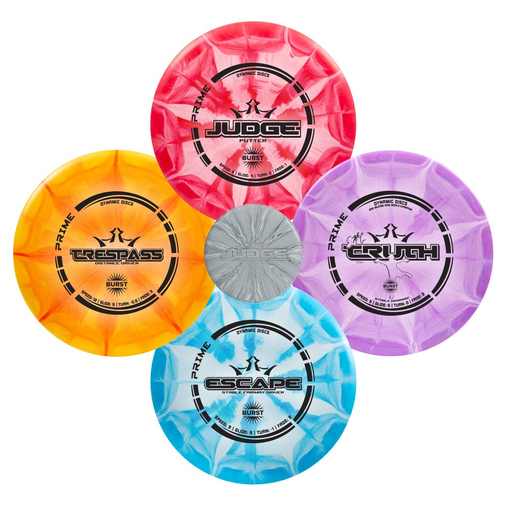 Dynamic Discs Four Disc Prime Burst Disc Golf Starter Set | Trespass Distance Driver | Escape Fairway Driver | Truth Midrange Disc | Judge Disc Golf Putter | Colors Will Vary by D·D DYNAMIC DISCS