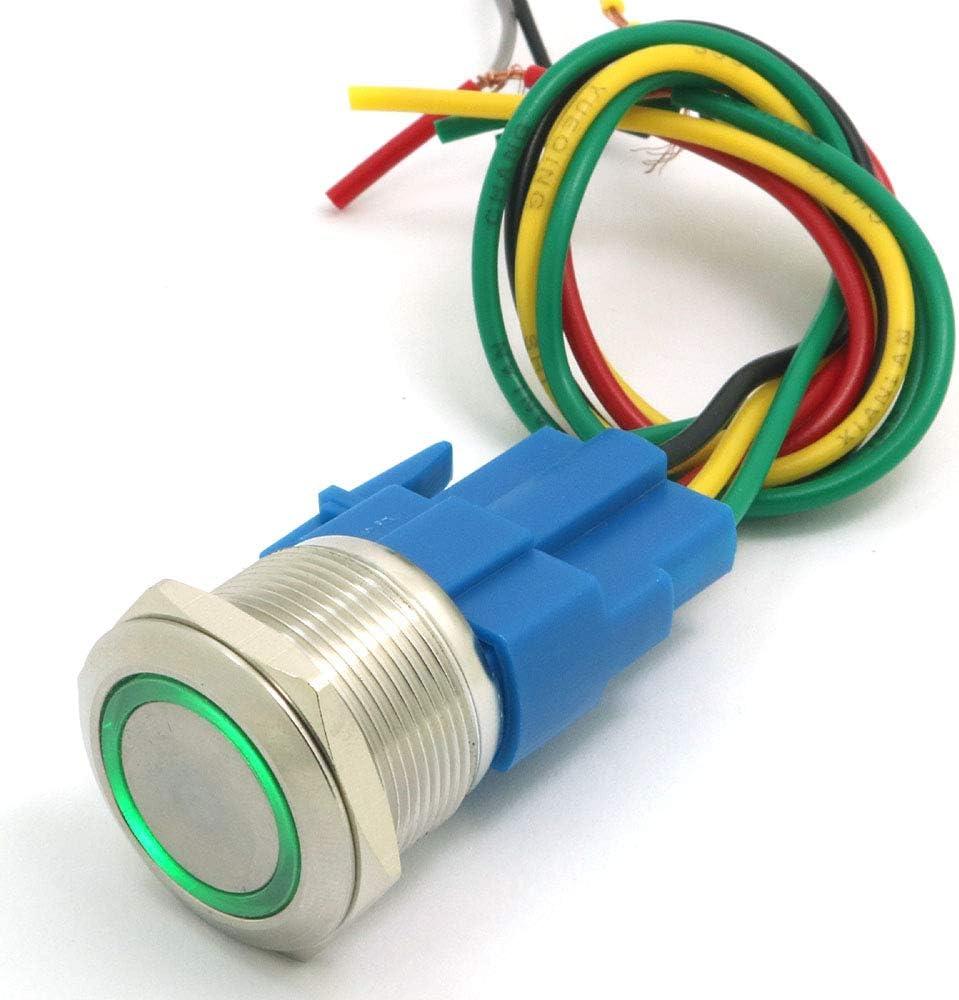 Vert DollaTek 22mm Commutateur /à bouton-poussoir momentan/é 12V CC Angel Eye LED Interrupteur rond en acier inoxydable /étanche