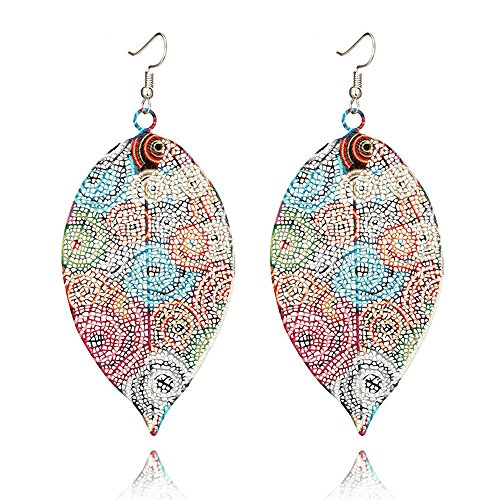 Muranba 1 Pair Sterling Silver Leaf Tassel Eardrop Earring (Multicolor)