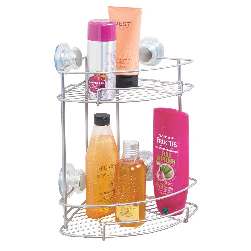 mDesign Suction Bathroom Shower Caddy Corner Basket for Shampoo ...