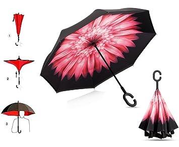 Doble capa invertida Umbrella coches paraguas reversa, a prueba de viento protección UV manos libres