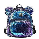 Bags us Women Girls Dazzling Sequins Backpack with Cute Ears Schoolbag Shoulder Bag Satchel