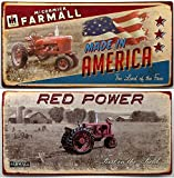 VoojoStore Farmall Tin Sign Set of 2 - Vintage wall décor farm rustic antique tractor - Perfect Gift For Anniversary Christmas Birthday Him Her Sister Wife Husband