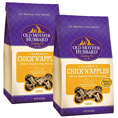 - Old Mother Hubbard Crunchy Classic Natural Dog Treats, Chick'n'Apples, Small Biscuits, 20-Oz Bag/2PK
