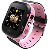 TDH Kids GPS Smartwatch,1.44 inch Touch Anti-lost Smart Watch for Children Girls Boys(Only Support T-Mobile) (Pink)