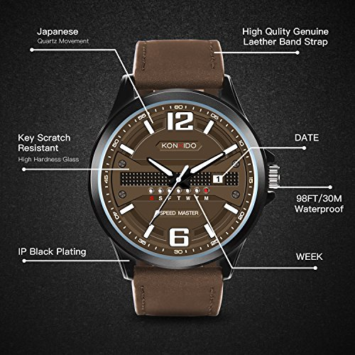 KONXIDO Men's Business Quartz Watch, Casual Fashion Analog Wrist watch Classic Date and Week Window, Waterproof 30M Water Resistant Comfortable Genuine Leather Strap Watches Coffee by KONXIDO (Image #5)