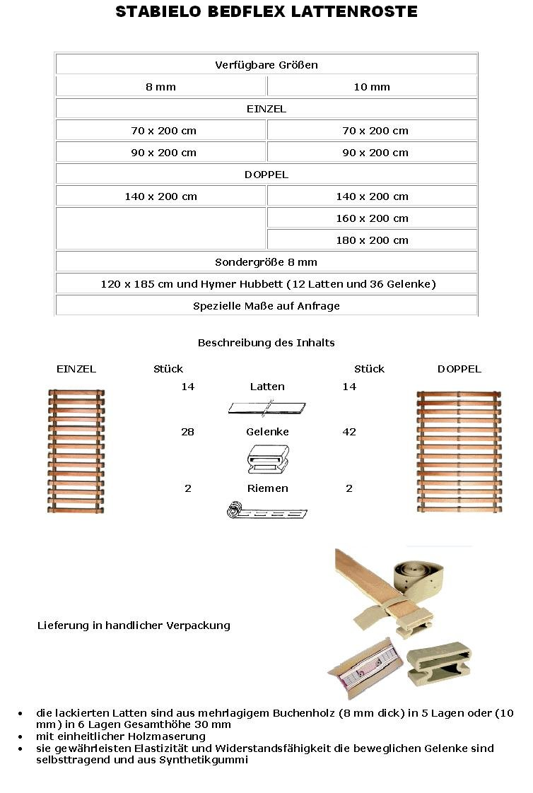 STABIELO HOLLY PRODUKTE - Camping Lattenrost Bedflex - 140 cm x 200 cm x 8mm Stärke - 14 Stück - STABIELO MARINA LATTENROST - 14 x STABIELO LATTEN - 28 x STABIELO GELENKE - 2 x STABIELO RIEMEN - holly-sunshade ®
