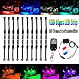 #5: Motorcycle Atmosphere LED Light Strip Kit, BT 10Pcs RGB Neon Accent Glow Lights Flexible Lamp with Wireless Remote Controller for Harley Davidson Honda Kawasaki Suzuki Ducati Polaris KTM BMW