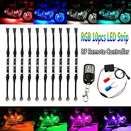 (Motorcycle Atmosphere LED Light Strip Kit, BT 10Pcs RGB Neon Accent Glow Lights Flexible Lamp with Wireless Remote Controller for Harley Davidson Honda Kawasaki Suzuki Ducati Polaris KTM BMW)