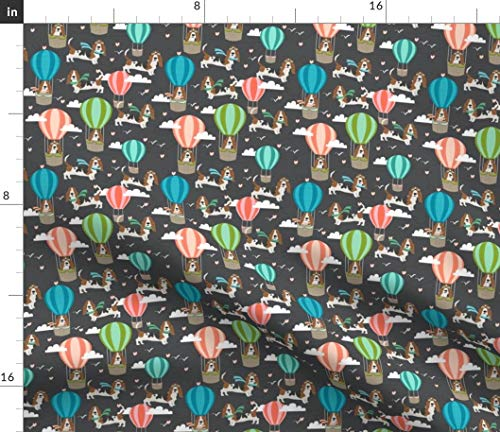 Spoonflower Basset Hound Fabric - Dog Hot Air Balloon Dogs Basset Hounds Basset Fabric Dog Fabric by Petfriendly Printed on Fleece Fabric by The - Fleece Hound Basset