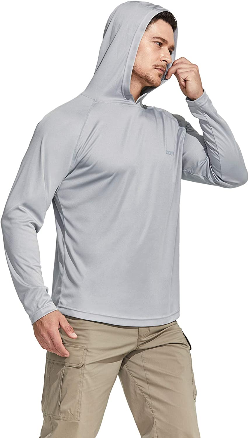 UV//SPF Quick Dry Loose-Fit Outdoor Shirts Performance Running Workout Shirt Pull Over Long Sleeve Hoodie CQR Mens UPF 50
