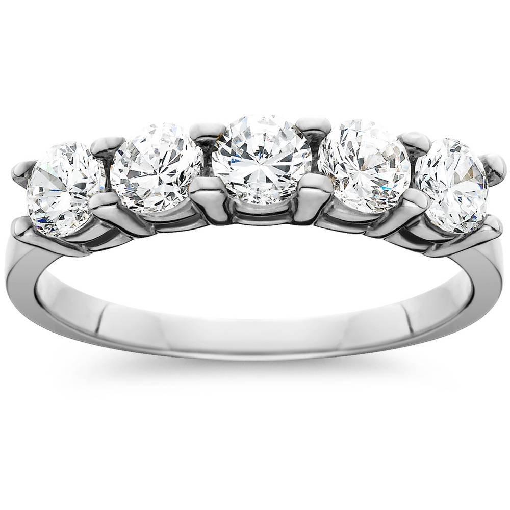 1ct Five Stone Genuine Round Diamond Wedding Anniversary Ring 14K White Gold