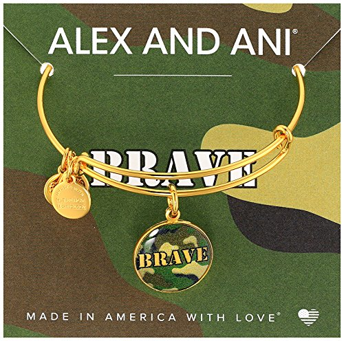 Alex and Ani Armed Forces Brave, Expandable Wire Bangle Charm Bracelet