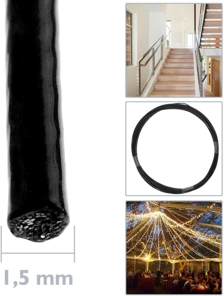 C/âble en Acier Inoxydable de 1,5 mm BeMatik Plastifi/é Noir Bobine de 10 m