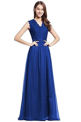 Elegant Long Wedding Lace&Chiffon Sleevesless Bridesmaid Women Dress