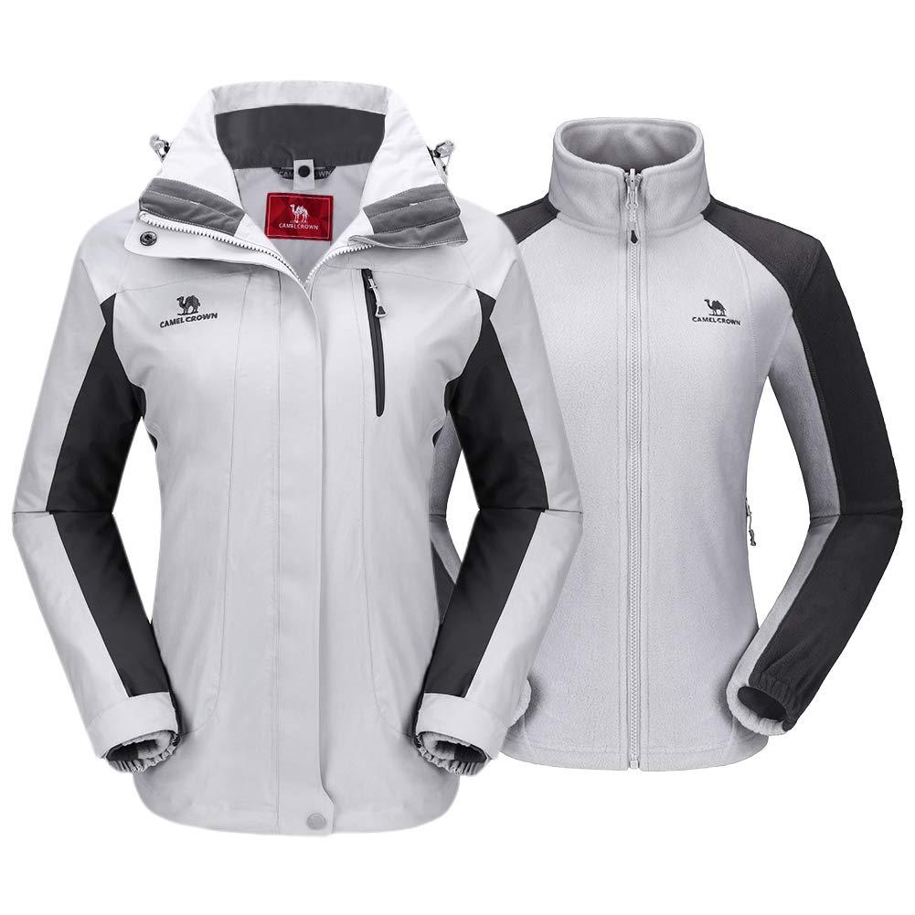 CAMEL CROWN Women's Ski Jacket Winter Jacket Waterproof 3 in 1 Mountain Coat Windproof Hooded with Inner Warm Fleece Coat (Grey, XX-Large) by CAMEL CROWN