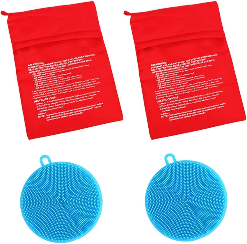 Reusable Microwave Potato Bag, Washable Baked Corn Cooking Pouch, Hanging Silicone Vegetable Scrubber, Double Side kitchen Brush for Fruit, Dish Washing (2 Pack Each, Blue)