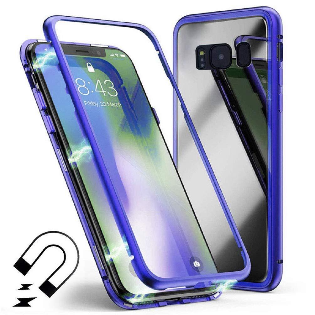 Coque d'Adsorption Magnétique pour Samsung Note 8, Coollee Housse Rigide en Verre Trempé avec Cadre de Pare-Chocs en Métal avec Aimants Intégrés [Support de Charge Sans Fil], étui Ultra-Légère Mince avec Protection à 360°Pour Samsung Galaxy Note 8, Noir CL