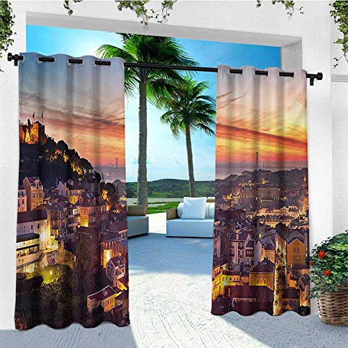 - leinuoyi Cityscape, Outdoor Patio Curtains, Cityscape of Lisbon Portugal Traditional Seaside City Colorful Sky Sunset Evening View, Fabric W84 x L108 Inch Brown