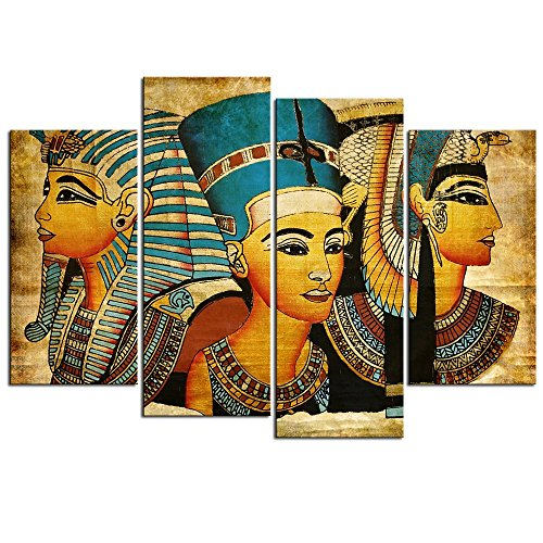 Sea Charm Egyptian Decor Ancient 4 Pieces Canvas Wall Art Framed Egyptian Pictures for Living Room Decor,Vintage Canvas Painting Giclee Print (Egypt Pyramids Picture)