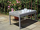 Patio Resin Outdoor Garden Yard Wicker Rectangular Coffee Table w/ Glass. Gray