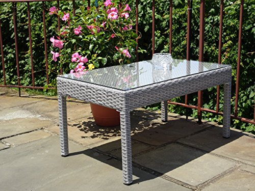 Patio Resin Outdoor Garden Yard Wicker Rectangular Coffee Table w/ Glass. Gray price