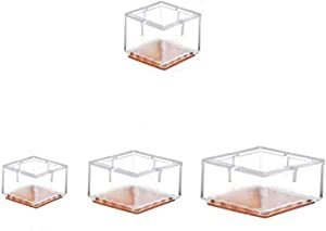TSACTE Chair Leg Caps, Square Clear Silicone Table Furniture Leg Feet Tips Covers Wood Floor Protectors, Felt Pads,Fit Square Length 1-1/4 to 1-3/8 Inch,24 Pack