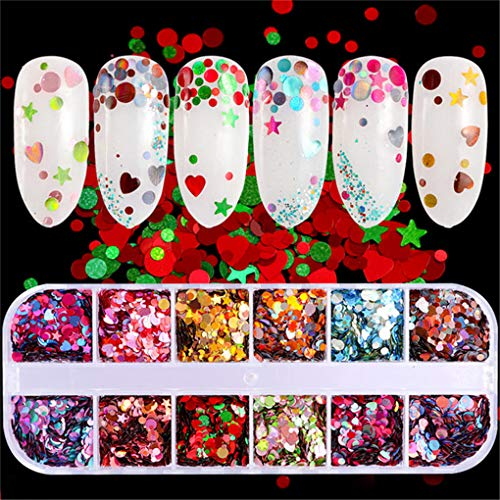 12 Colors/Set Aluminum Irregular Holographic Glitter Powder Nail Colorful Flakes Manicure Nail Sequins Mirror Tips CT-17