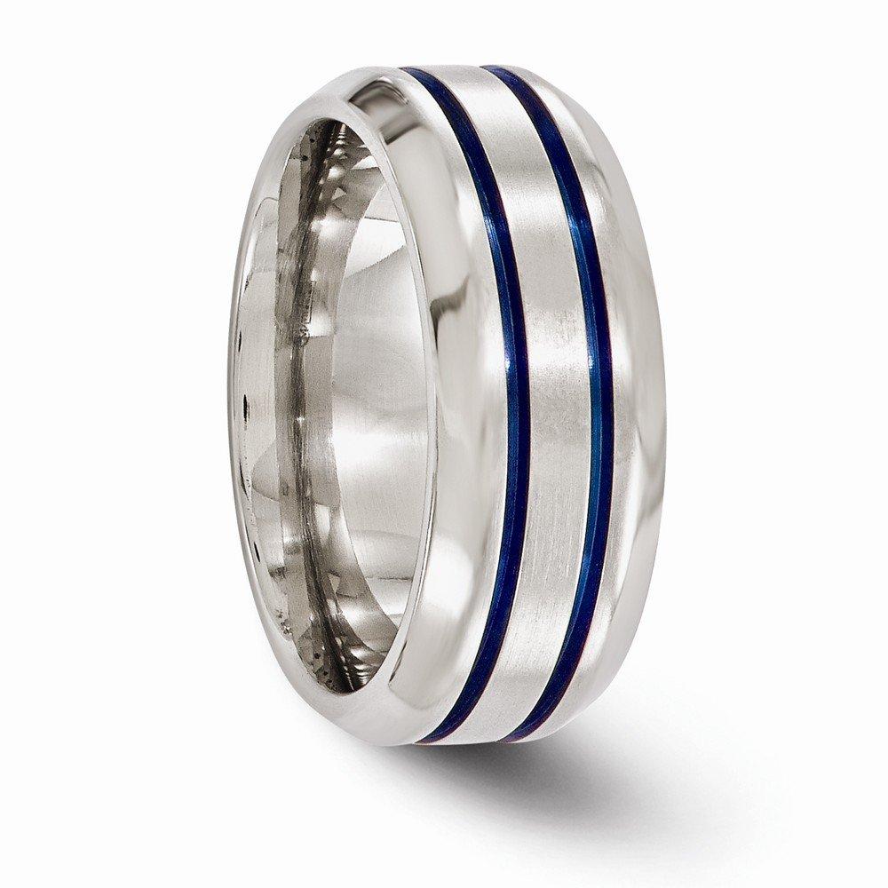 Bridal Wedding Bands Decorative Bands Edward Mirell Titanium Brushed and Polished with Bevel 8mm Band Size 11.5