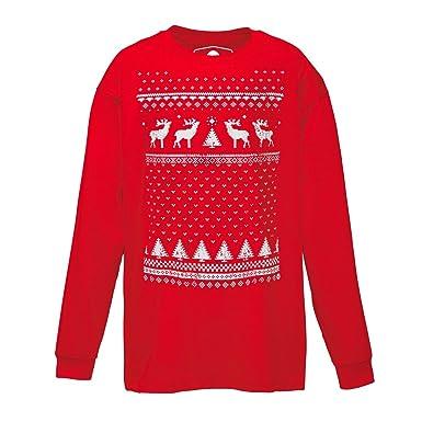 478a5d6e59d08 T-shirt de Noël à manches longues avec Renne pour enfants - Rouge ...