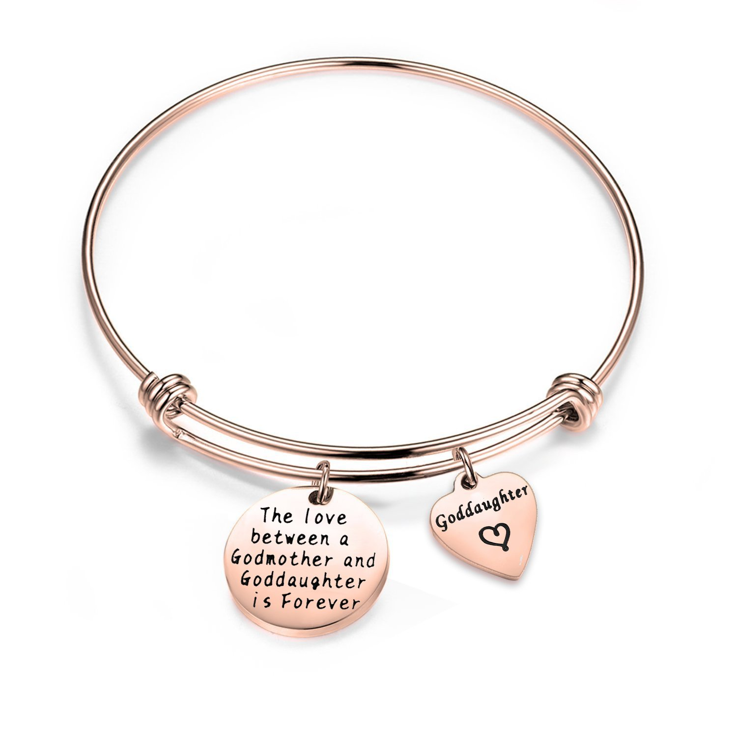 SEIRAA Goddaughter Gift The Love Between a Godmother and Goddaughter is Forever Bracelet First Communion Gift B077RVTSS1_US
