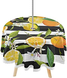 DOMIKING Fruit Outdoor Patio Round Tablecloth - Lemon Orange Flag Table Cover 60 inch with Umbrella Hole Zipper Washable Table Coth for Backyard Circular Table BBQs Picnic