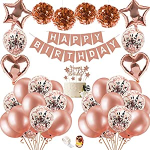 Best Epic Trends 619TOuGq5HL._SS300_ Birthday Decoration Women, Birthday Balloons Rose Gold with DIY Cake Topper, Happy Birthday Banner, Sparkling Tassels…