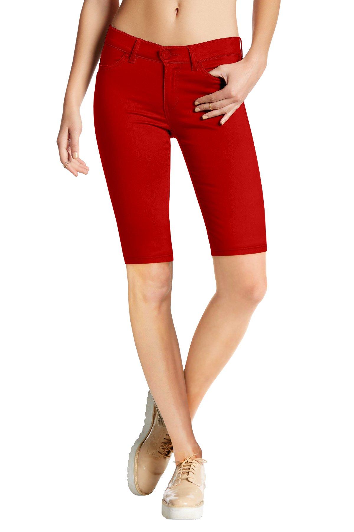 HyBrid & Company Womens Perfectly Shaping Hyper Stretch Bermuda Shorts B44876X RED 3X