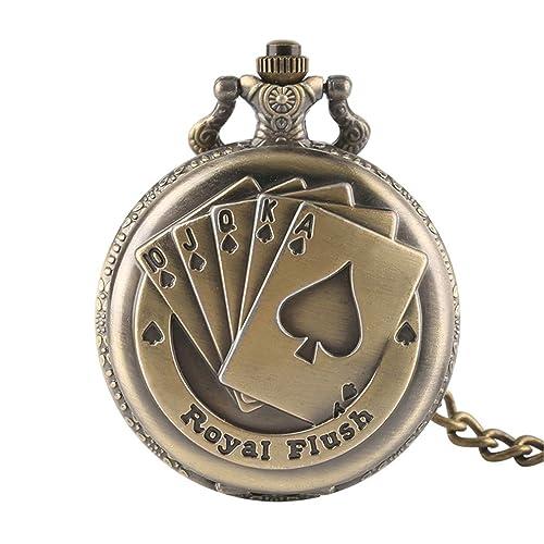 Vintage Bronze Pocket Watches Men Wander Time Magic Quartz Poket Watch Open Face Fob Clock Arabic