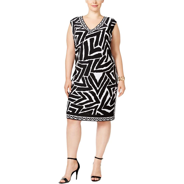 Amazon.com: INC Womens Plus Matte Jersey Animal Print Casual Dress B/W 3X: Clothing