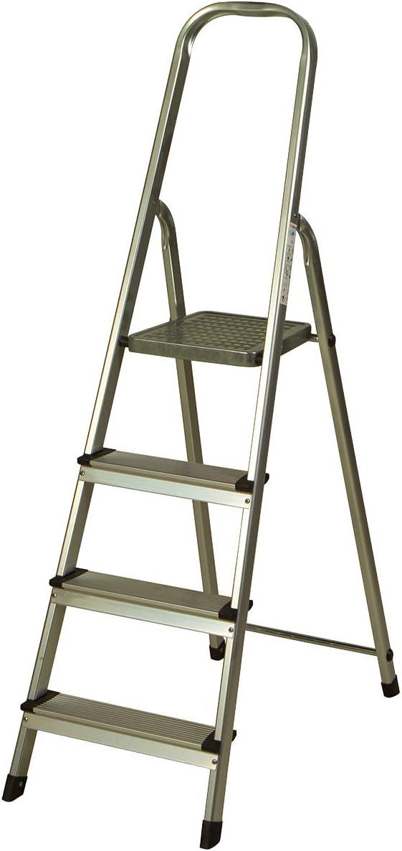 Escalera de Aluminio 4 Peldaños Catter House Alt. Máx. Trabajo 284 cm Plegable con Barandilla: Amazon.es: Bricolaje y herramientas