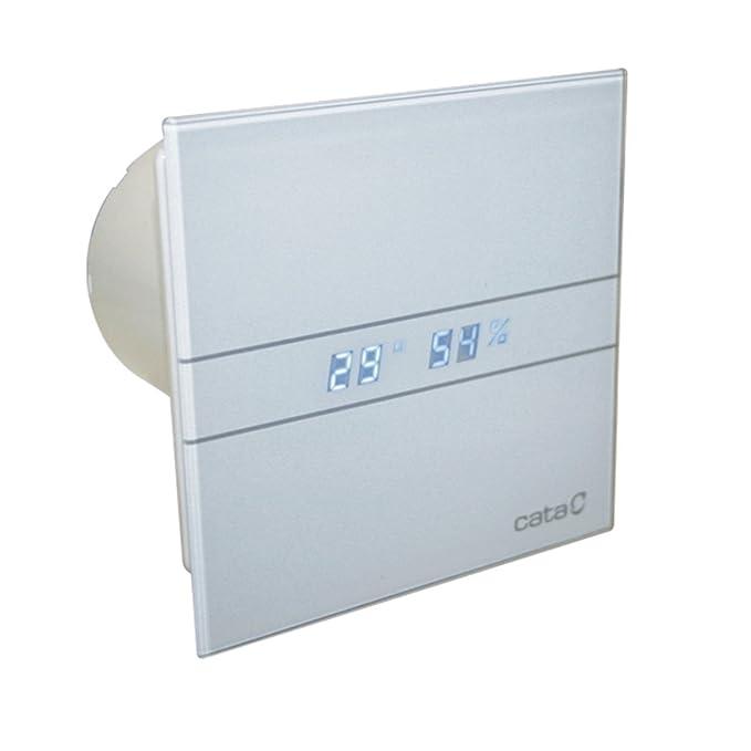Ventilator Lüfter Badlüfter CATA E-100 GTH Timer / Nachlauf / Hygro / Feuchtesteuerung Feuchtesensor LED – Display Glasfront