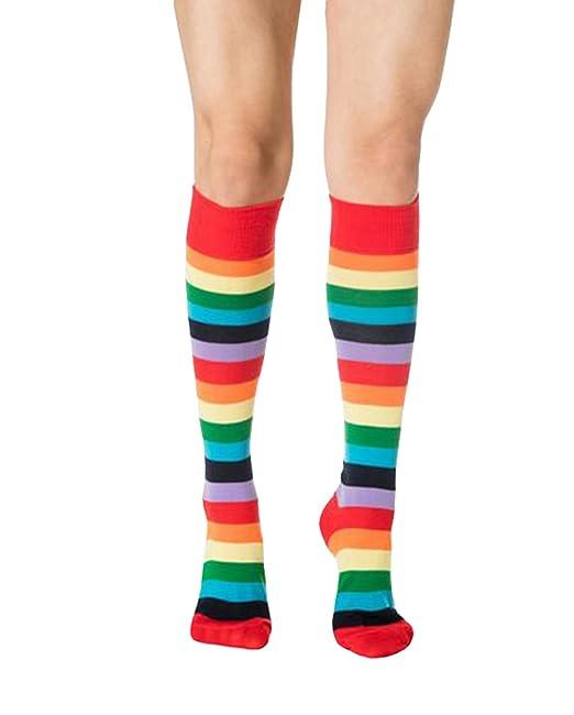 eff04c2098fc6 Yue Lian Damen Bunte Socken Regenbogen Streifen Lange Socken(Bunte ...