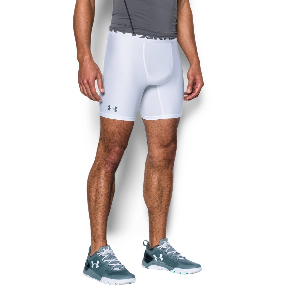 166194bac6 Galleon - Under Armour Men's HeatGear Armour 2.0 Mid Shorts, White (100)/ Graphite, XX-Large