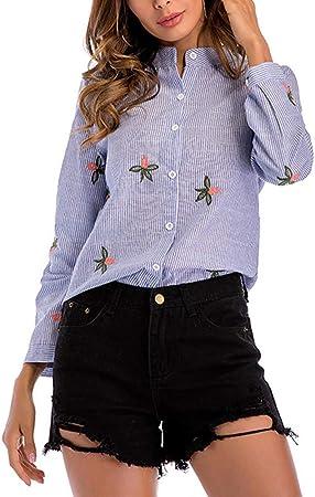 Camisa de Cuello Alto a Rayas de Moda para Mujer Camisa de algodón Floral Bordada Seleeve Larga Tops Sueltos Casuales para Camiseta de Trabajo,S-Blue: Amazon.es: Equipaje