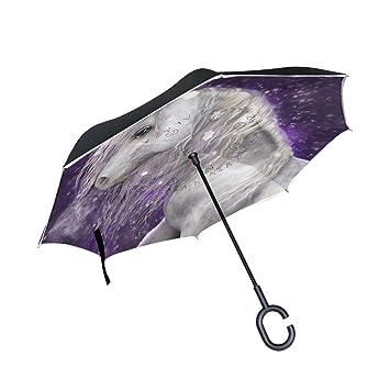 mydaily doble capa paraguas invertido coches Reverse paraguas hermoso unicornio y flores viento UV prueba de