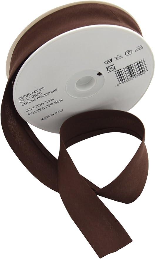 Inastri 2960 - Rollo de Cinta bies, Mezcla de algodón y poliéster, 20 m, 25/5/ 5 mm, Color marrón: Amazon.es: Hogar