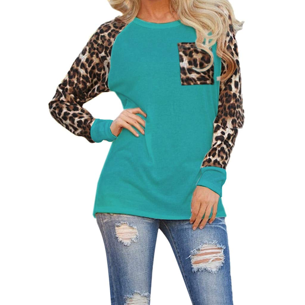 Nadition Womens Leopard Long Sleeve Blouse Fashion Ladies T-Shirt Casual Oversize Tops with Pocket