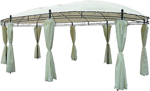 Pabellón ovalado 530 x 350 cm beige Cenador de jardín jardín ...