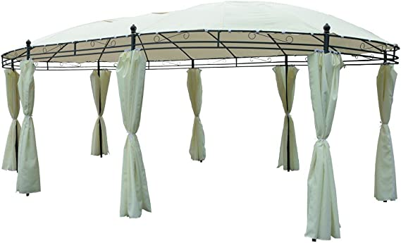 Pabellón ovalado 530 x 350 cm beige Cenador de jardín jardín tienda Pavillion
