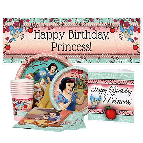 Birthday Direct Snow White Party Supplies Package for 16 -