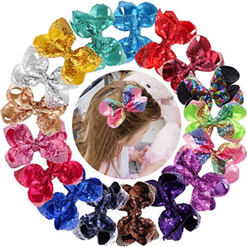 - 18Pcs 4Inch Sparkly Glitter Sequin Bows With Alligator Hair Clips Rainbow Hair Bows Hair Accessories for Baby Girls Toddlers Kids Teens