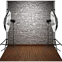 Kooer 5X7ft Silver Gray Stone Wall Wooden Floor Photography Backdrop for Studio