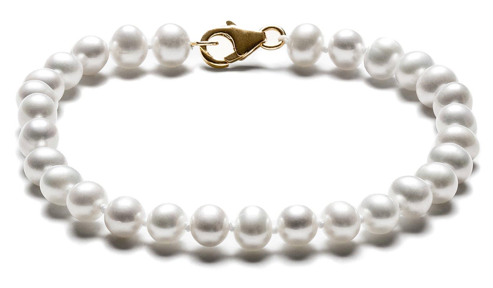 SilverLuxe 14kt Gold Genuine Freshwater Pearl Bracelet 5-6mm 7.5''